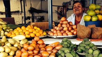 Frutas en el mercado de Plaoquemao, Bogotá.