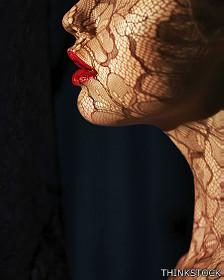Mujer, labios, encaje