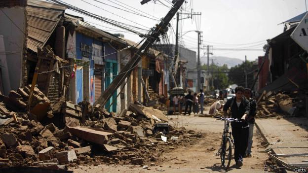 Destrozos de un sismo en Chile en 2010.