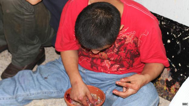 Adicto en un centro de rehabilitación en Guatemala.