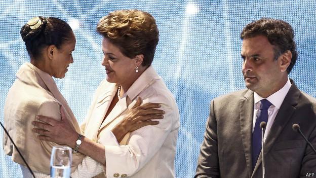 Dilma Rousseff, Marina Silva e Aécio Neves | Crédito: AFP