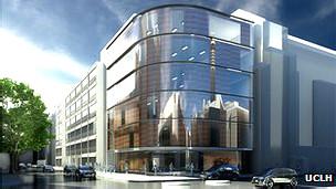Illutración que muestra cómo será uno de los nuevos centros para terapia de protones en Inglaterra