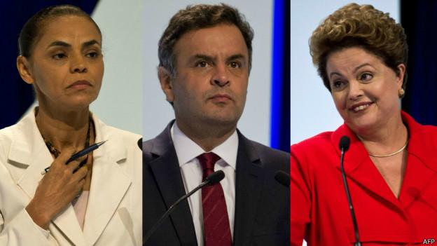 Marina, Aécio e Dilma no debate / Crédito: AFP