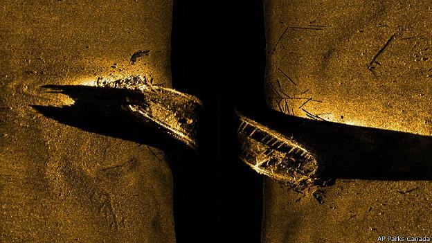 Imagen de sonar de un barco de Sir John Franklin hundido en el Artico