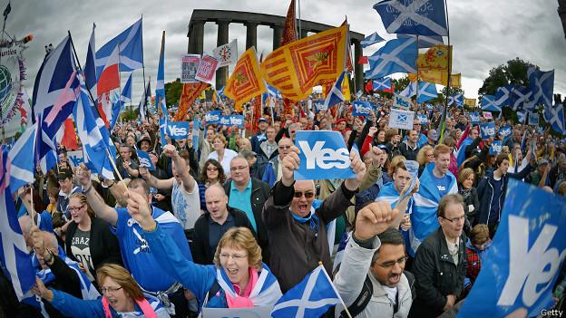 Manifestación a favor del sí en Escocia.