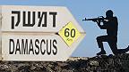 estatua de un soldado con señal hacia Damasco