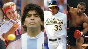 Andre Agassi, Myke Tyson, José Canseco y Diego Maradona