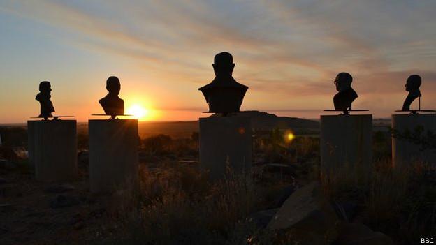 Bustos de líderes afrikáners en Orania.