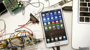tecnología, icono hamburguesa, menú smartphone, tableta, telefono inteligente