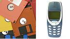 Disquetes y teléfono no inteligente