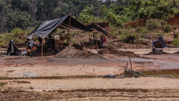 Un campamento  minero en Venezuela.