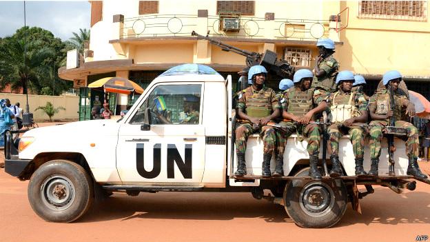 Soldados en una misión de la ONU en África