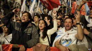 Simpatizantes del gobierno argentino