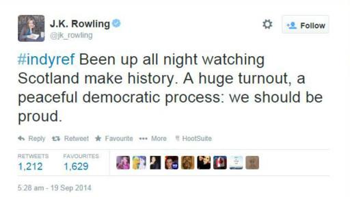 Tuit de JK Rowling